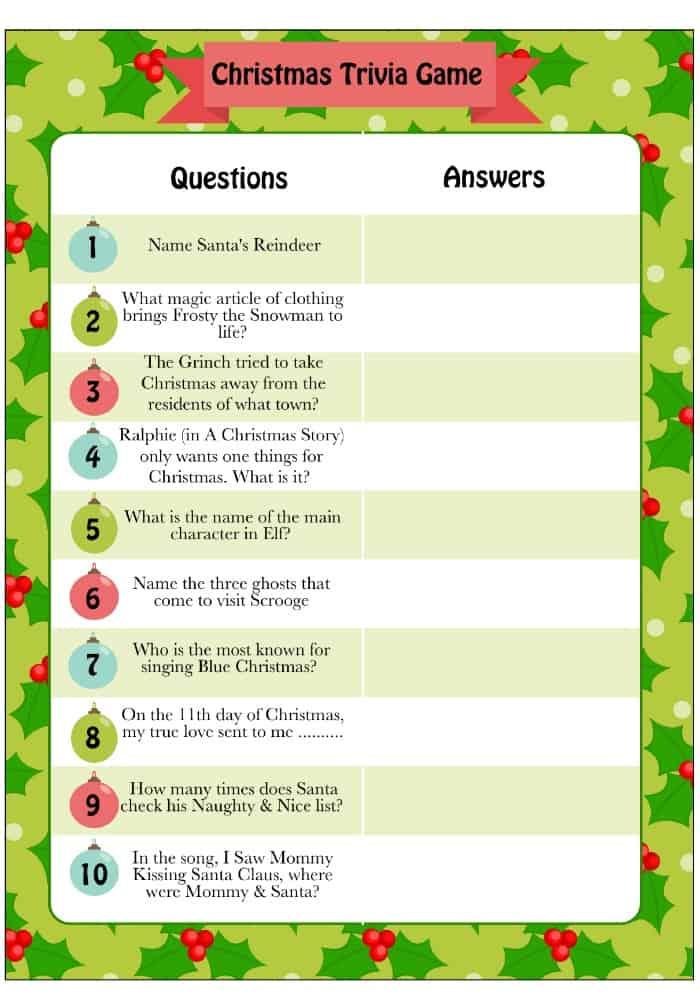 Printable Christmas Trivia Game - Moms  Munchkins
