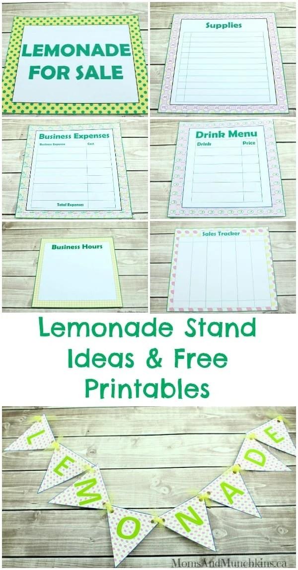 Lemonade Stand Ideas  Free Printables - Moms  Munchkins