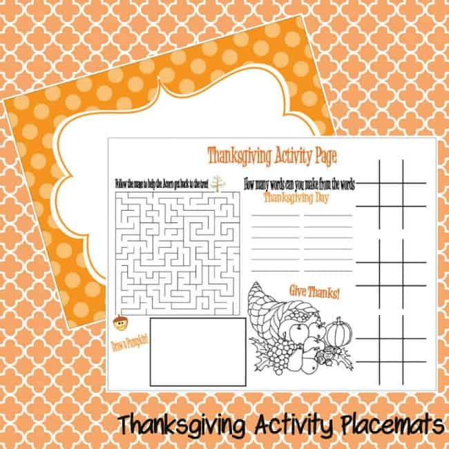 Thanksgiving Placemats for Kids - Moms  Munchkins