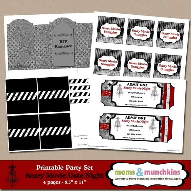 Scary Movie Date Night Ideas   Moms \ Munchkins   Free Printable Movie  Ticket Invitations  Free Printable Movie Ticket Invitations