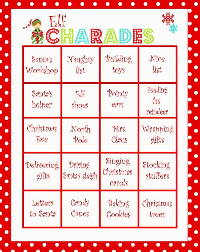 Christmas Charades Game - Moms  Munchkins