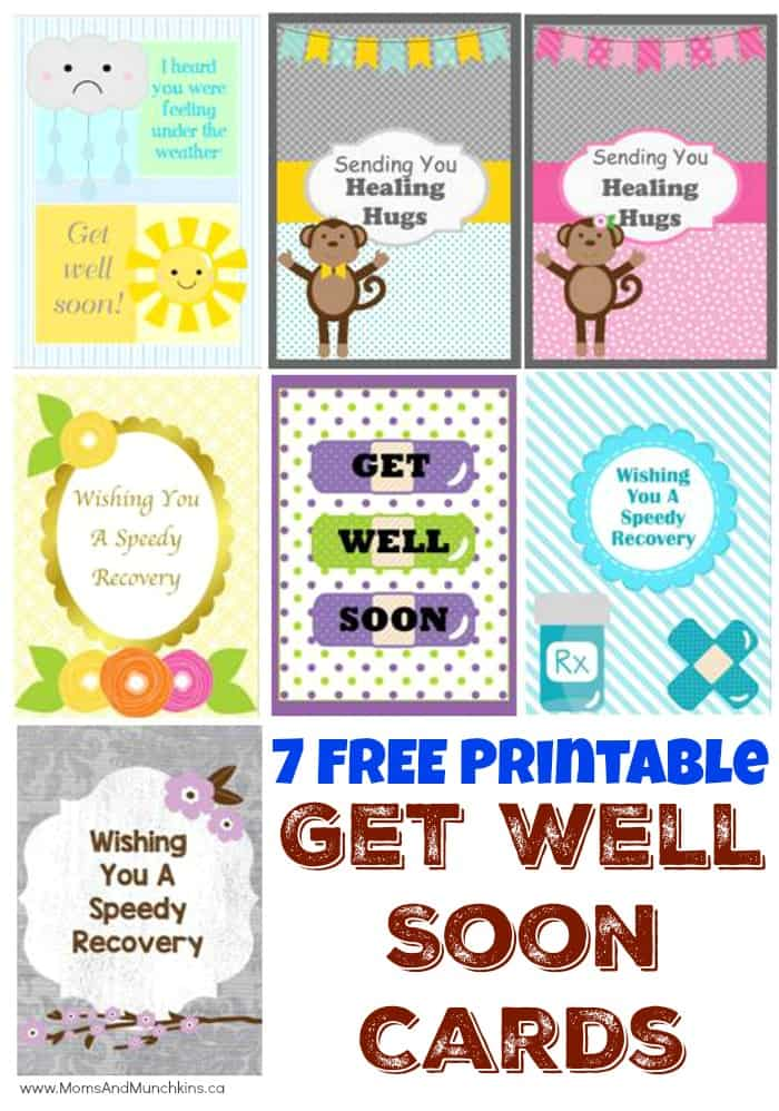 Free Printable Get Well Soon Cards - Moms  Munchkins