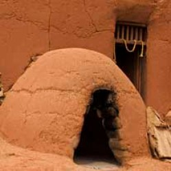 47425696 - traditional pueblo clay ovens