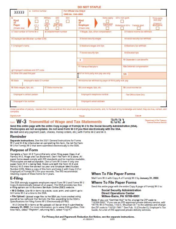 W3 Laser Transmittal Form for W2 50-Sheet Pack W3 Laser Transmittal - transmittal form