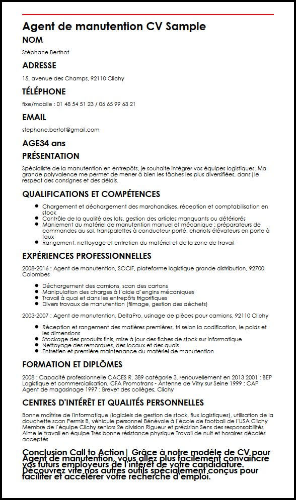 cv manutentionnaire debutant word