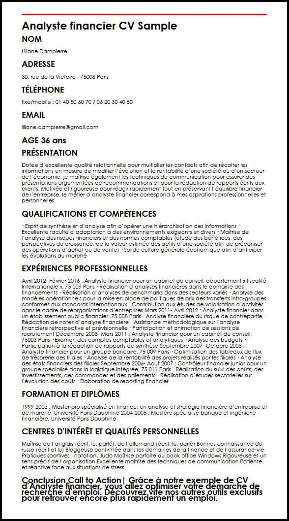 cv competences analyste financier