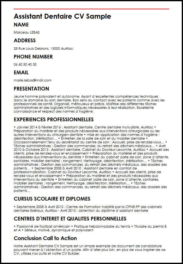 exemple de cv dentaire