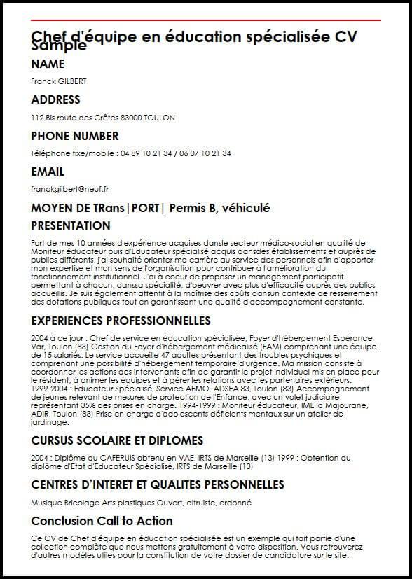 cv competence moniteur educateur