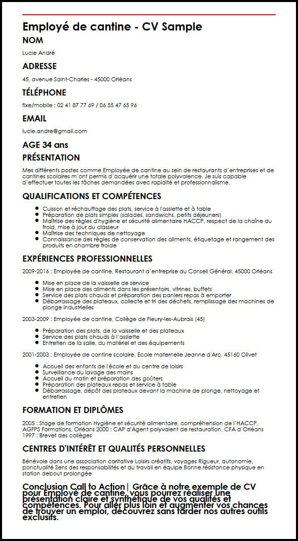 employe de restauration collective cv exemple