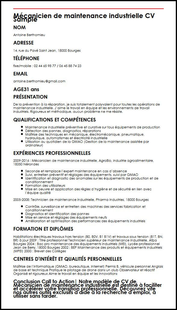 cv competences maintenance industrielle