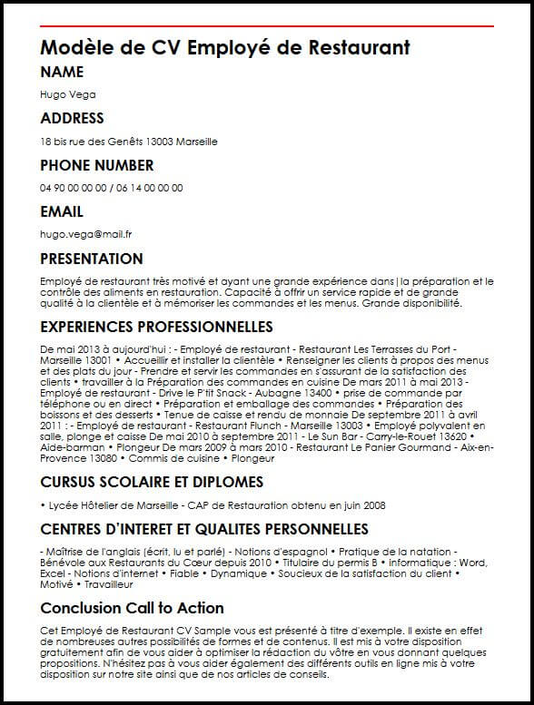 cv employe de restauration en ligne
