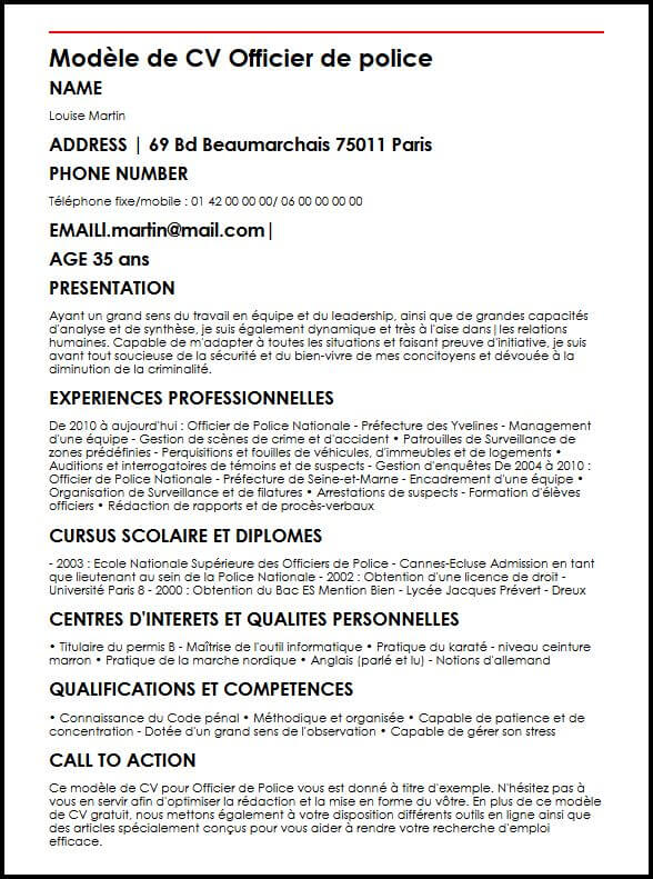 exemple de cv police nationale