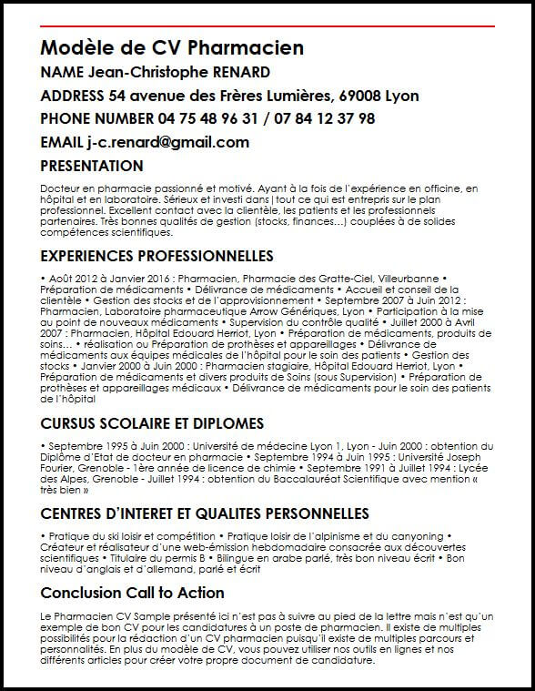 exemple cv pharmacien officine creer facilement
