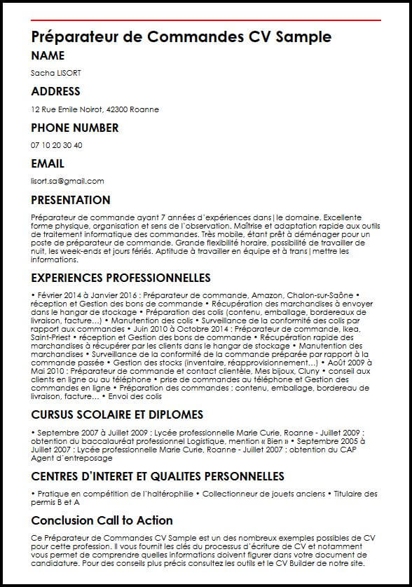 cv preparateur de commandes gratuit