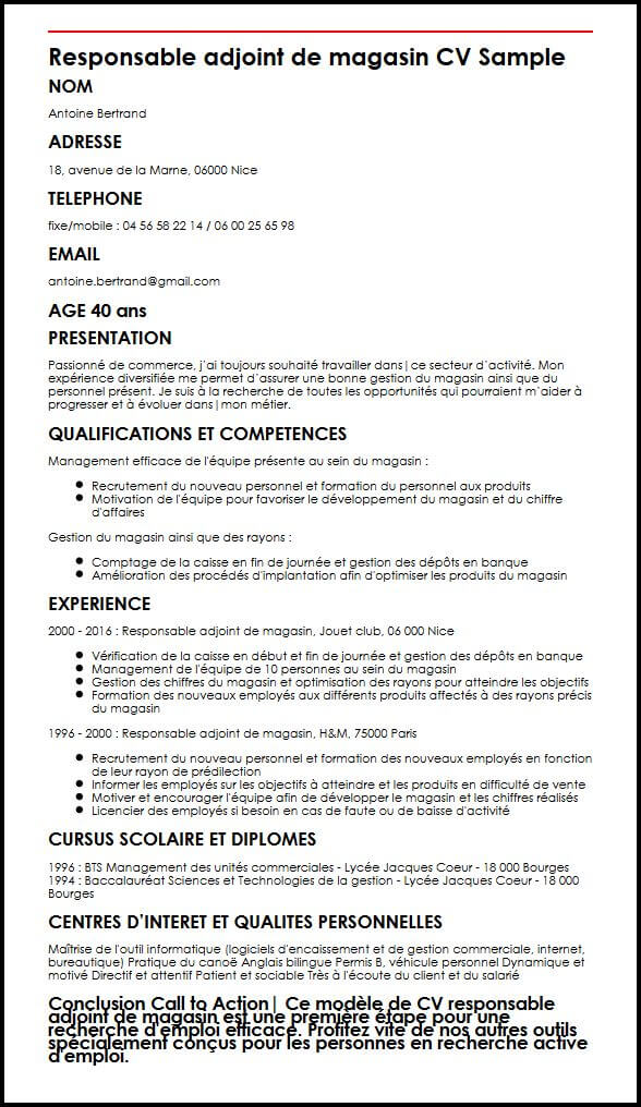 cv adjoint responsable magasin