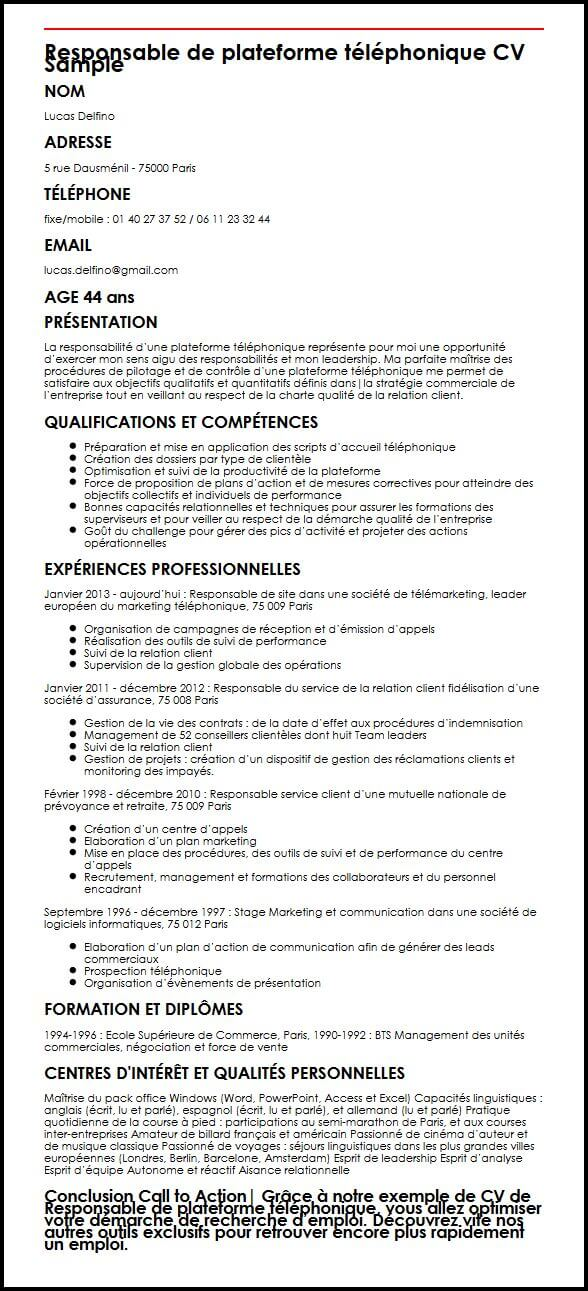 competences en commerce cv