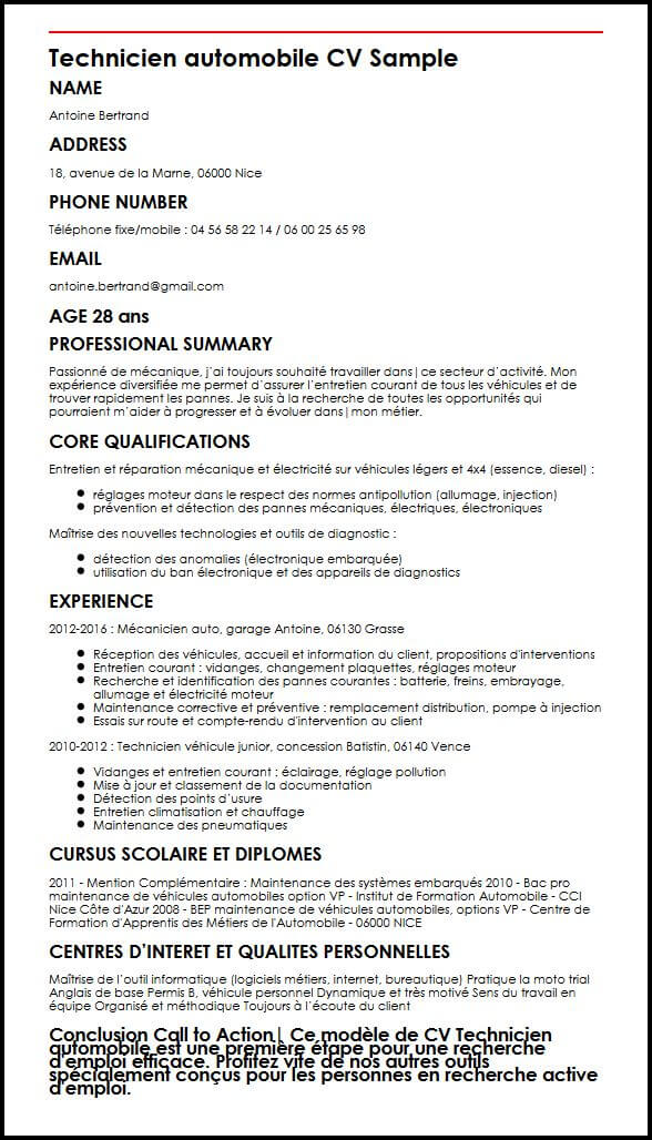 modele cv technicien informatique