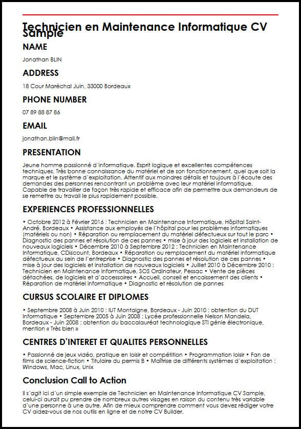 exemple cv technicien