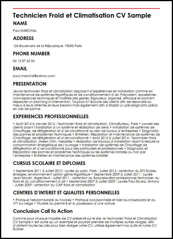 exemple de cv de technicien