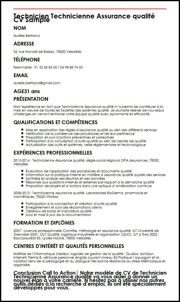 exemple de cv technicien de la qualite