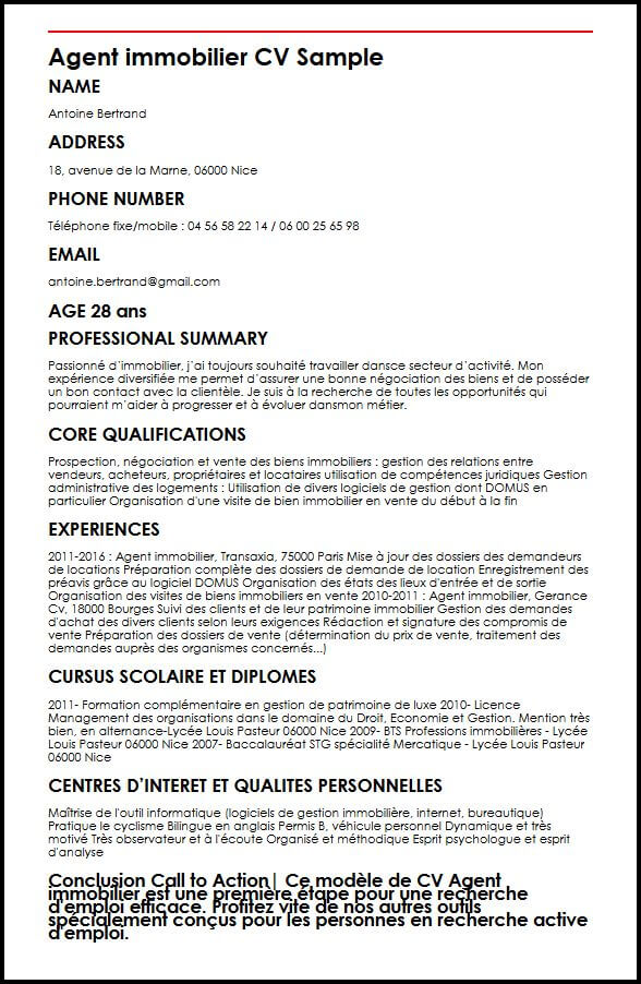 cv agent immobilier