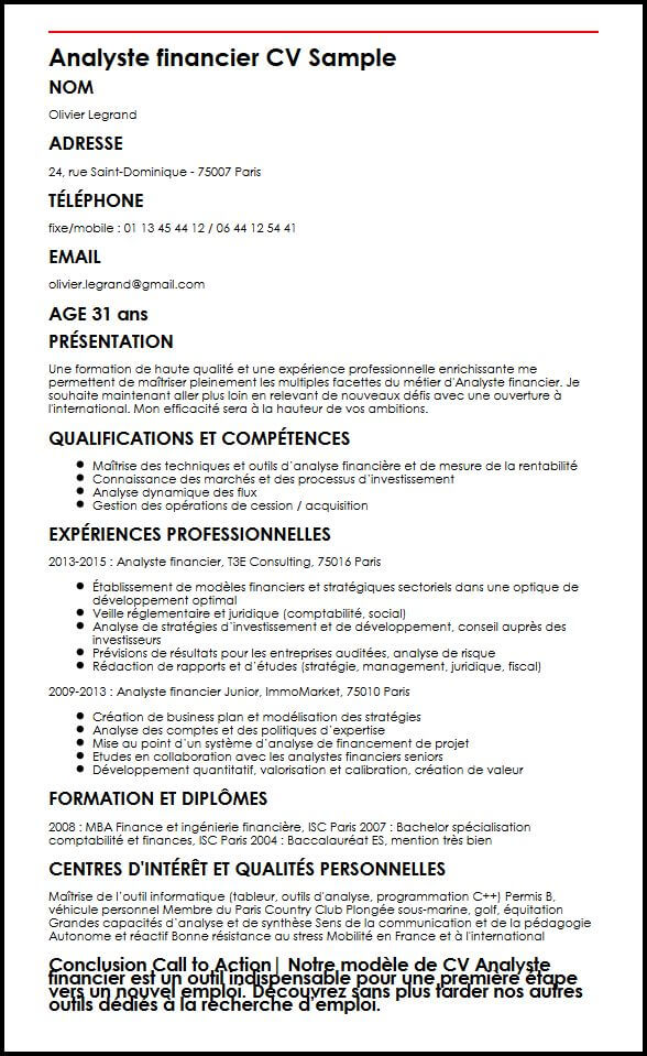 exemple de cv pour le metier de la finance