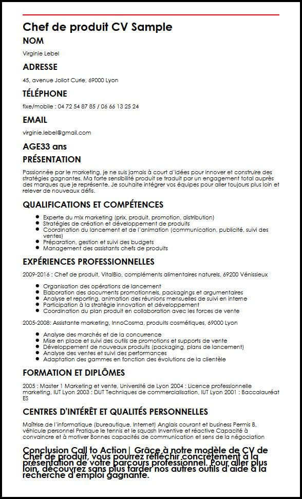 cv stage chef de produit cosmetique marketing