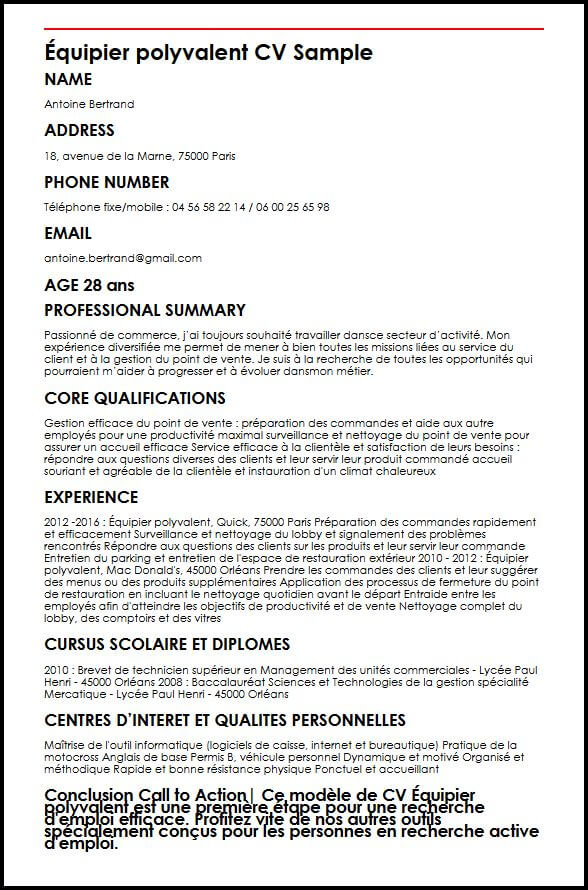 cv etudiant employe restauration
