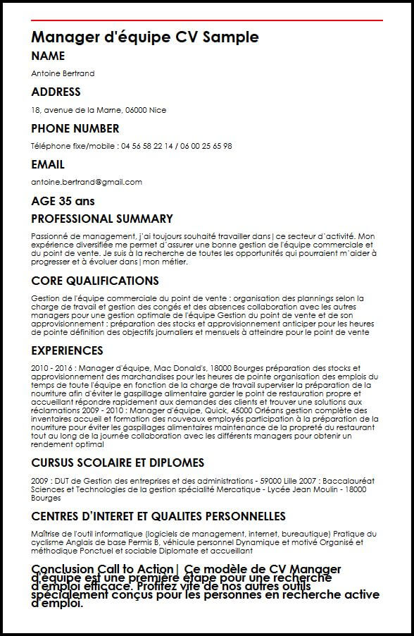 modele cv manager commercial