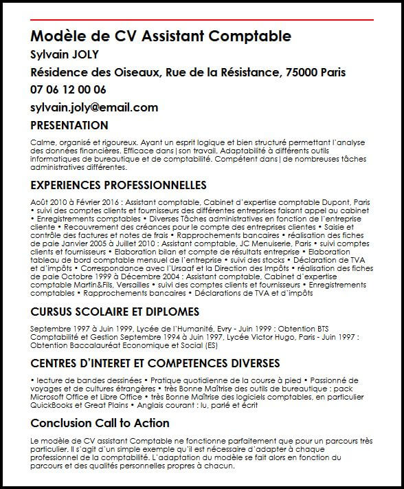competence gestionnaire comptable cv