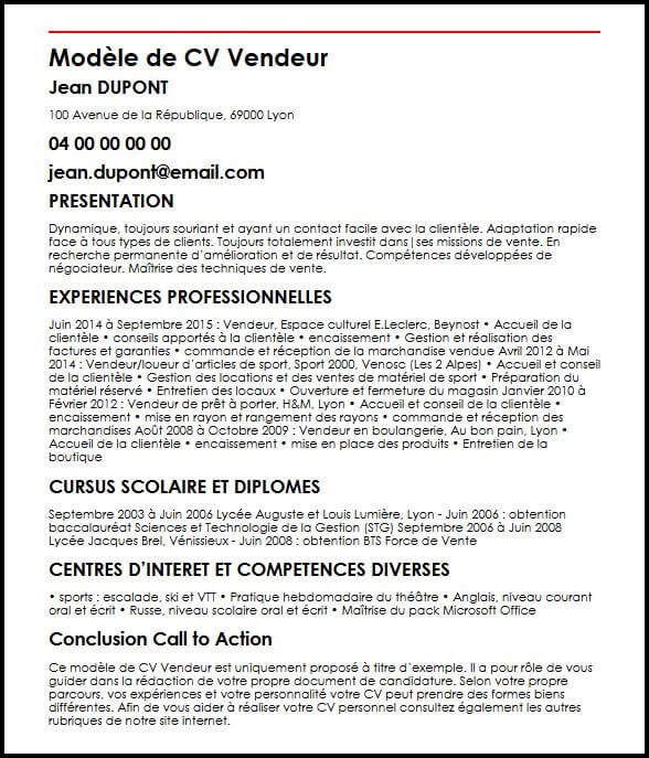 exemple cv competence vente