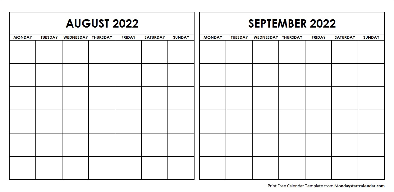 Two Month August September 2022 Calendar Blank
