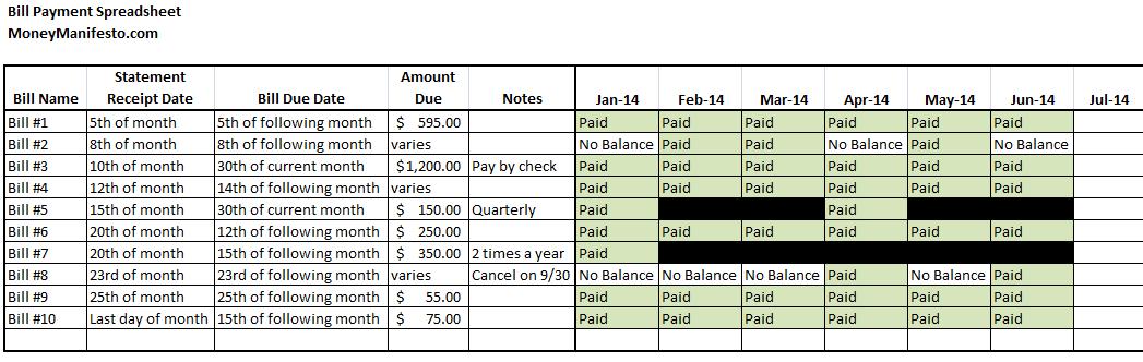 excel pay bill