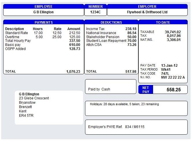 Doc603576 Payslip Template Free Download microsoft word – Payslip Templates