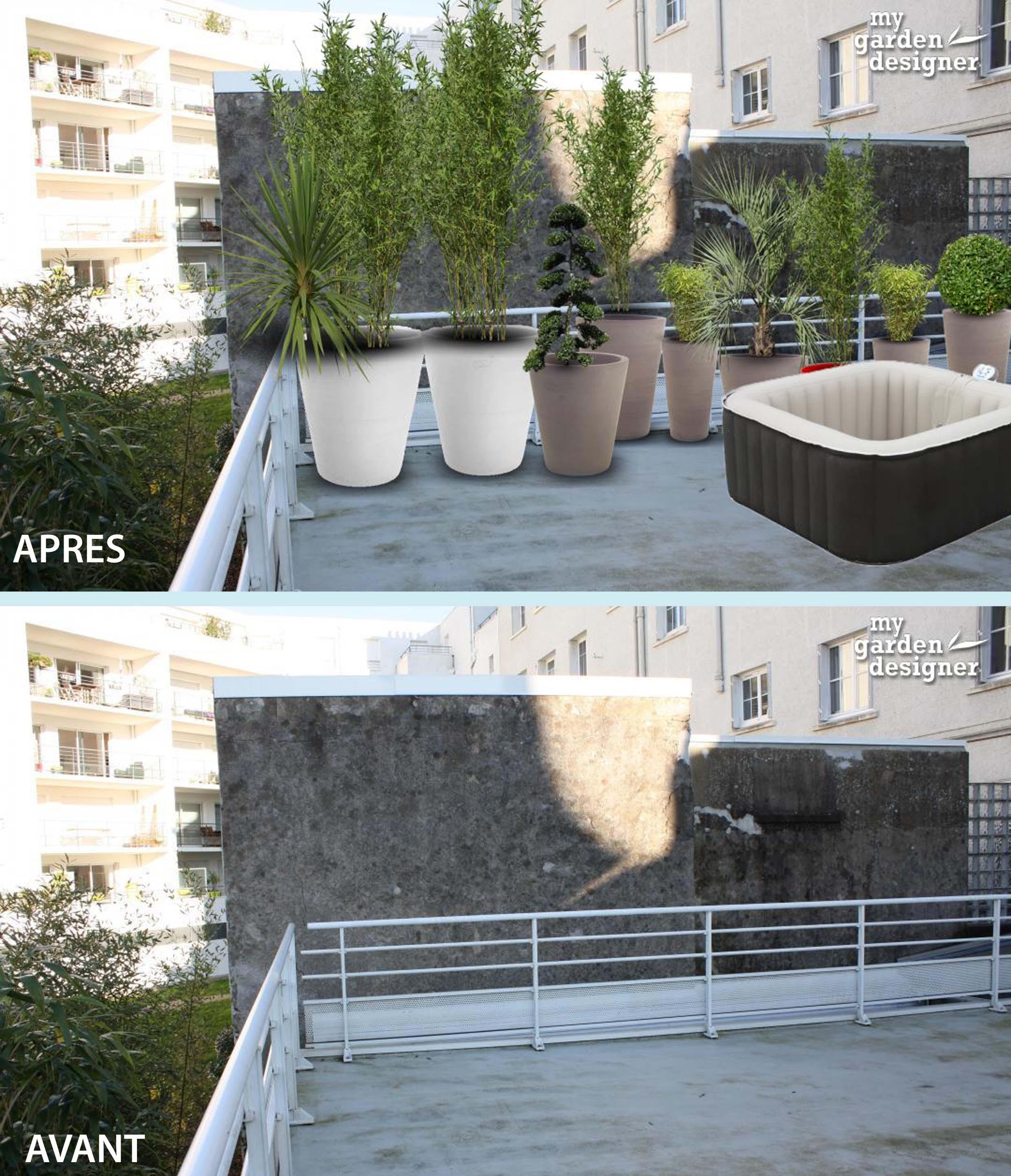 cacher un mur mitoyen de terrasse avec des plantes en pot. Black Bedroom Furniture Sets. Home Design Ideas