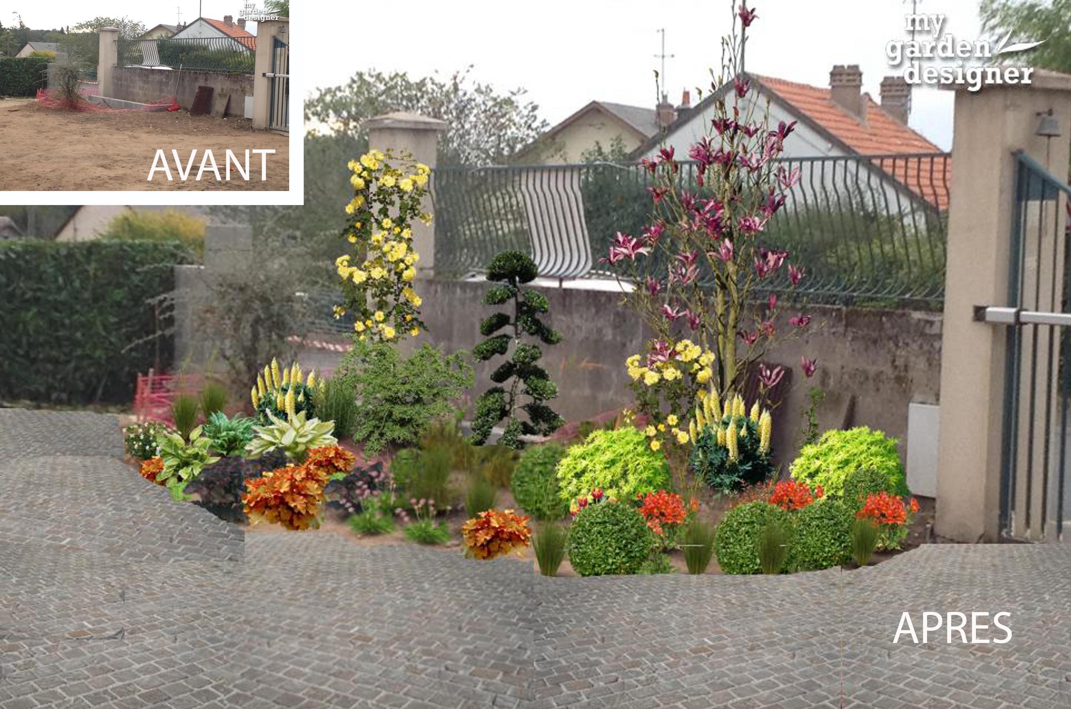 Am nagement de l entr e d un jardin classique monjardin for Jardin devant maison