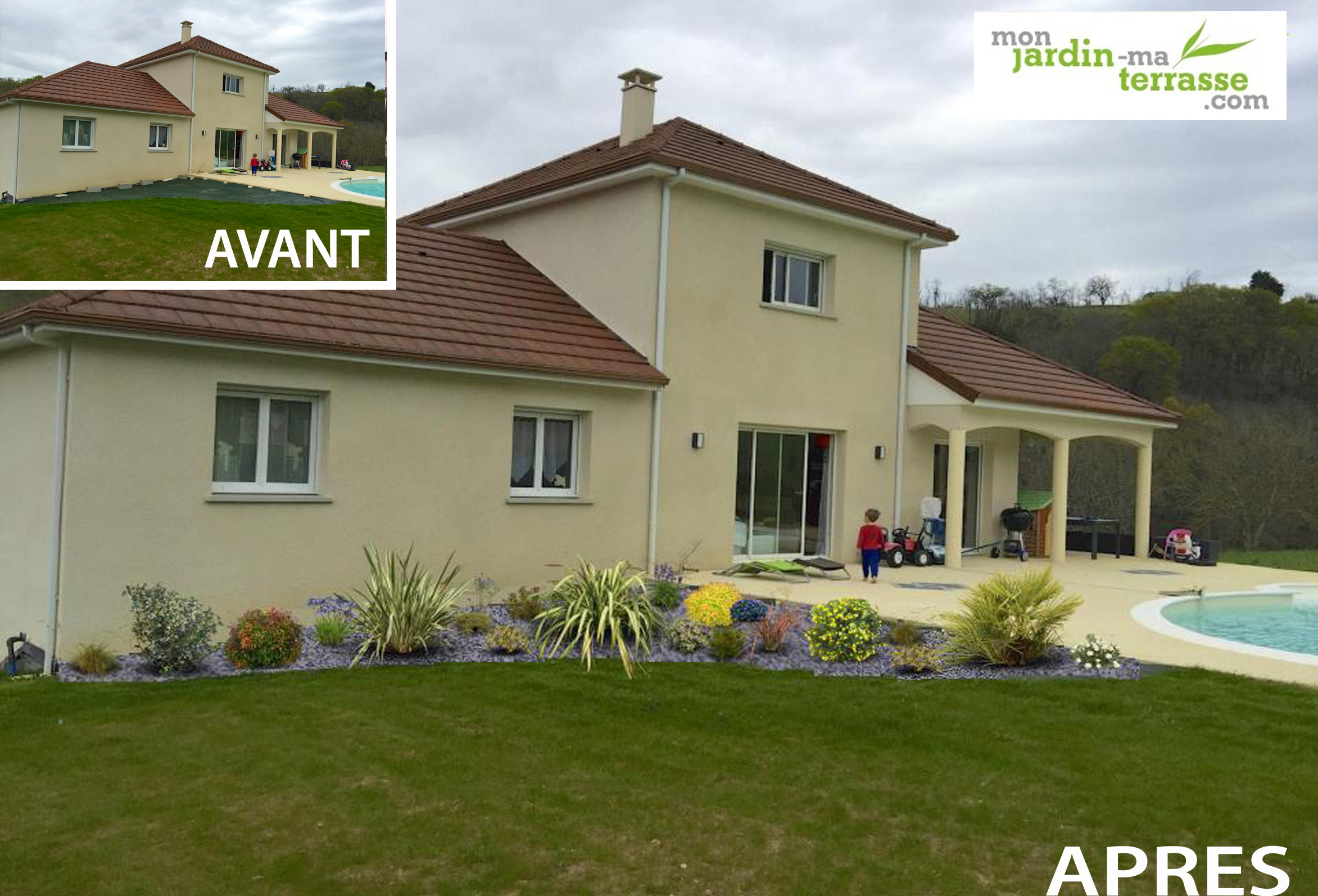 Am nagement ext rieur devant une maison monjardin for Photo amenagement jardin exterieur