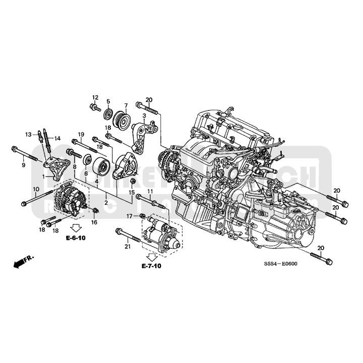 Honda Idler Pulley Bracket Assembly \u2013 No Power Steering K20 K24