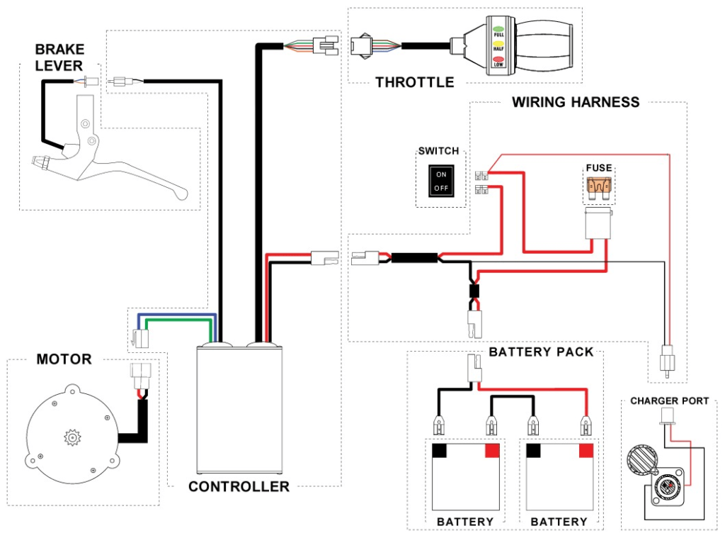 36v electric scooter diagrama de cableado