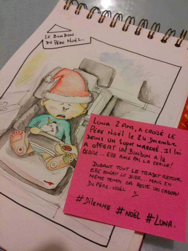 Luna 2ans, a croisé le pere noël le 24 decembre dans un super marché. Il lui a offert un bonbon a la cerise ... Elle aime pas la cerise. Durant tout le trajet retour elle voulait le jeter ... Mais en même temps ca reste un cadeau du père noël émoticône unsure #dilemme #Noël #luna