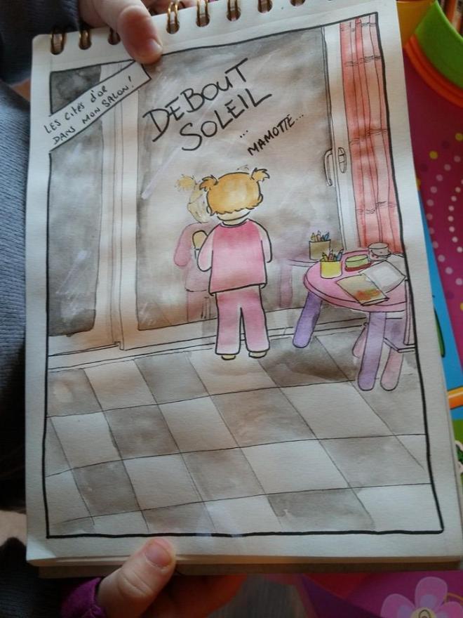 """Et oui ma fille se prend pour Esteban dans les les mystérieuse cité d'or ... elle fait lever le soleil ... rien que ça !  """"Debout Soleil ! Mamotte (Marmotte)"""" -vendredi 30/01/2015 à 07h-"""