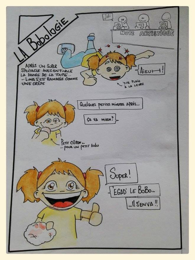 """[Après un super spectacle avec en finale la danse de la toupie ... ... Luna s'est ramassée comme une crêpe] (<- 'tite plaie à la lèvre) """"-Aieuh !"""" [Quelques petites minutes après ...] """"-Ça va mieux ?"""" (petit coton ... ... pour un petit bobo) """"-Super !  -'Egad' le bobo ...  ... il s'en va !!"""""""