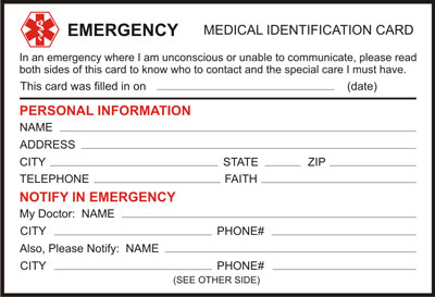 Free Medical Alert Identification Card Download And