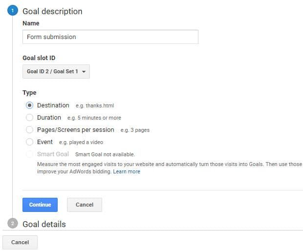 How to Create a Goal in Google Analytics to Track Conversions - sample goal tracking