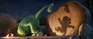"Arlo, a 70-foot-tall teenage Apatosaurus, befriends a young human boy named Spot in Disney•Pixar's ""The Good Dinosaur""—in theaters November 25, 2015. ©2013 Disney•Pixar.  All Rights Reserved."