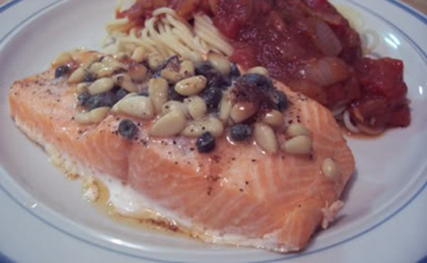 Broiled Salmon And Pine Nuts