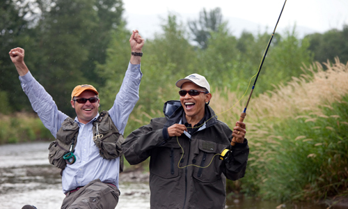 President Obama Fly Fishing in Montana