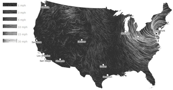 Animated Wind Map Shows Wind Speed and Direction