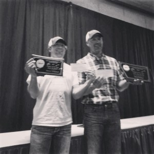Angler of the year, Kris Keller, and I sporting our Kit's Tackle Swag on stage at the state Walleyes Unlimited Banquet!!