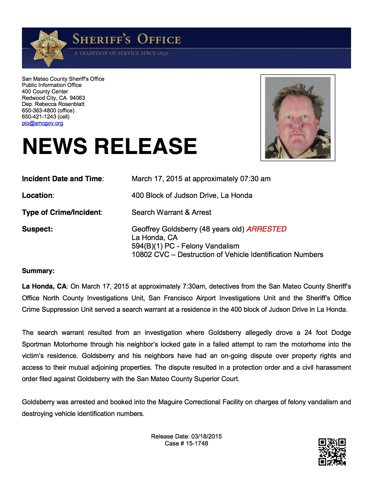 03-18-2015 Search Warrant Arrest
